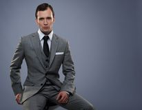 Man in grey suit Royalty Free Stock Photography
