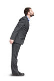 Man in grey suit want to kiss Royalty Free Stock Photography