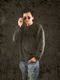 Man in grey sweater. Royalty Free Stock Images