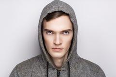 Man grey sweater royalty free stock photos
