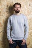 Man grey sweatshirt Stock Image
