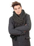 Man in grey winter coat and scarf Royalty Free Stock Photos
