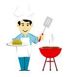 Man Grilling Hamburger On BBQ. Man in white apron holding cooked hamburger while barbecuing burgers on grill vector illustration