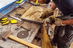 Man grinder metal royalty free stock photo