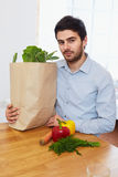 Man With a Grocery Shopping Bag. Healthy Lifestyle Stock Photography