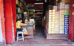 A man at the grocery store in Penang, Malaysia.  stock images
