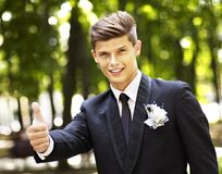 Man groom in park . Stock Photos
