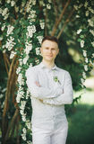 Man, groom posing in park on his wedding day Royalty Free Stock Photography