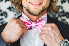 Man the groom in a wedding formal costume. Stock Photos