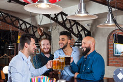 Man Group In Bar Clink Glasses Toasting, Drinking Beer Hold Mugs, Mix Race Cheerful Friends Wear Shirts Royalty Free Stock Photos