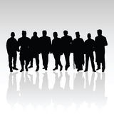 Man in group vector silhouette black Royalty Free Stock Photo