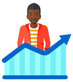 Man with growing chart Royalty Free Stock Photo