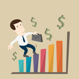 The man growth in business chart Royalty Free Stock Image