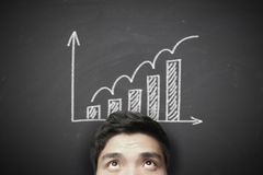 Man with growth graph background Royalty Free Stock Photo