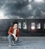 Man and grunge bridge Stock Photography