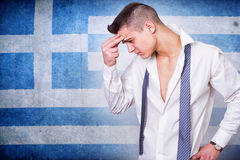 Man and grunge Greece flag Stock Image