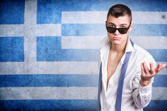 man and grunge Greece flag Royalty Free Stock Photo