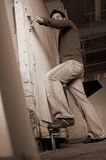 Man at a grungy door Royalty Free Stock Images