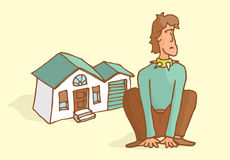 Man guarding his house sitting like a dog. Cartoon illustration of determined man guarding home like a dog Royalty Free Stock Photo