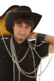 Man with guitar and chain Royalty Free Stock Photo