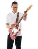 Man with guitar enjoying music Royalty Free Stock Photo