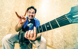 Man with a guitar . Royalty Free Stock Photo