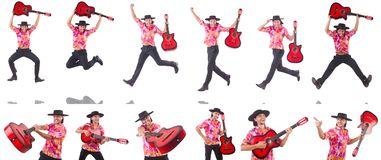 The man with guitar isolated on white Royalty Free Stock Photos