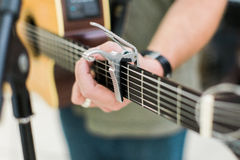 Man guitar player on acoustic guitar Stock Photography