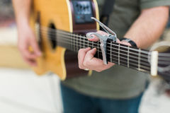 Man guitar player on acoustic guitar Royalty Free Stock Images