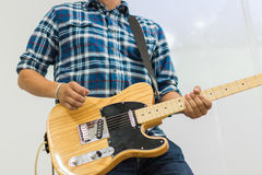 Man guitar player on electric guitar telecaster Stock Images