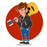 Man with a guitar. Vector illustration Stock Photography
