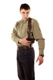 Man with gun. On white isolated royalty free stock image