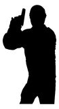 Man with Gun. A silhouette of a man holding a gun Royalty Free Stock Photos