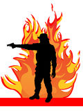 Man with gun. Illustration of a man with gun infront of a fire Royalty Free Stock Photo