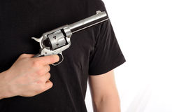 Man with gun. Isolated on white background Royalty Free Stock Image