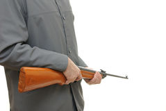 Man with Gun. Man pointing a gun isolated on white background Stock Image