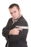 Man with gun. Elegant gangster isolated on white background royalty free stock images
