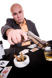 Man with gun. Danger man with gun. over white background royalty free stock images