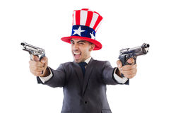 Man with gun. And american hat royalty free stock image