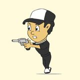 Man with gun cartoon Stock Image
