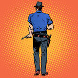 Man gun gangster Sheriff cowboy crime. A man with a gun gangster Sheriff crime cowboy retro style back Royalty Free Stock Photos