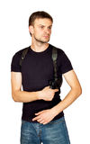 Man with a gun in the holster Royalty Free Stock Photo