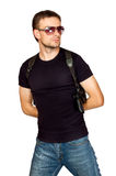 Man with a gun in the holster Royalty Free Stock Photos