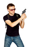 Man with a gun in the holster Stock Photography