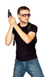 Man with a gun in the holster Stock Images
