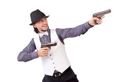 Man with gun isolated Royalty Free Stock Photography