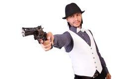 Man with gun isolated. On the white Stock Photos