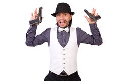 Man with gun isolated. On the white Royalty Free Stock Photo