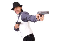 Man with gun isolated Royalty Free Stock Photos