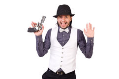 Man with gun isolated. On the white Royalty Free Stock Image
